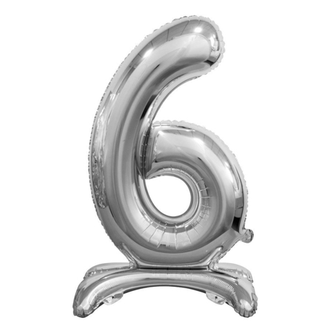 Цифра 6 Серебряная на подставке