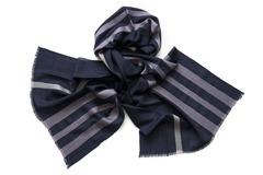 Шарф из шелка и шерсти темный полосатый 01278