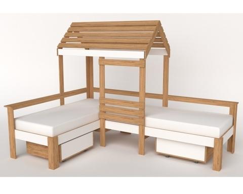 Кровать-домик АВАРА-4 со стенкой, крышей и ящиками правая