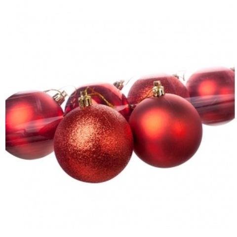 Набор шаров в тубе 8шт. (пластик), D8см, цвет: красный