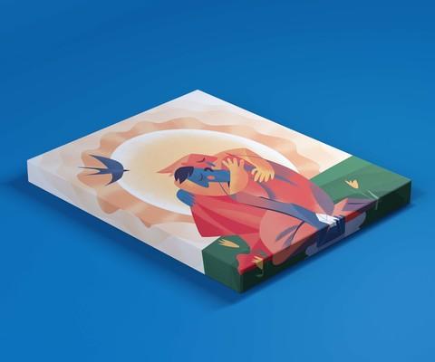Триптих «Кай и Герда», «Колдунья», «Любовь растопила лед» 30х30см