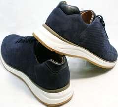 Синие кожаные кроссовки мужские летние Faber 1957134-7 Blue