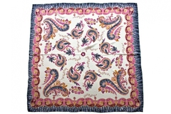 Итальянский платок из шелка белый с орнаментом 5753