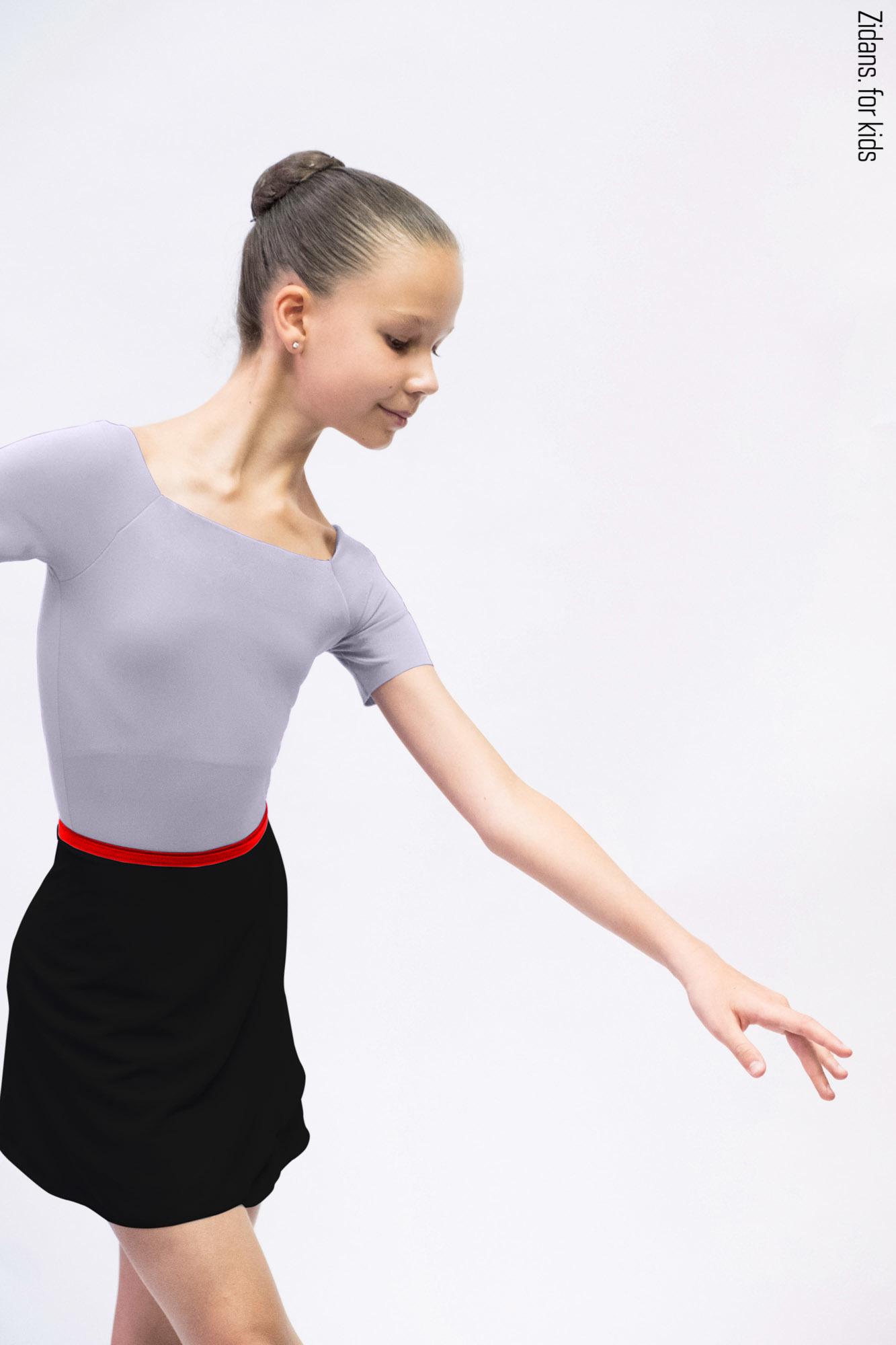 Kids set: T-leotard grey + skirt