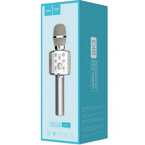 Беспроводной караоке микрофон HOCO BK3 (серебро)