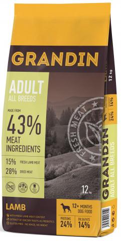12 кг. Grandin Adult All Breeds сухой корм для взрослых собак всех пород, с ягненком