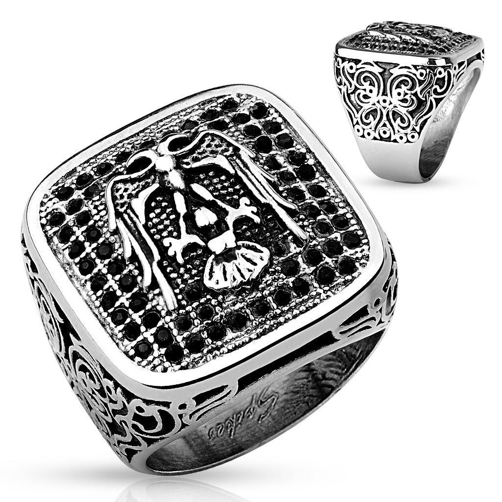 Перстень печатка с камнями и гербом мужской SPIKES R-H9834