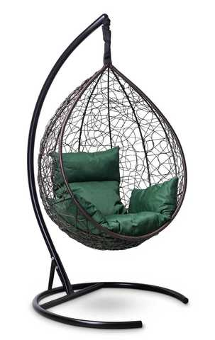 Подвесное кресло-кокон SEVILLA коричневое + каркас + зеленая подушка