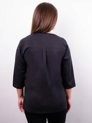 Вега. Оригинальная женская блуза плюс сайз. Черный.