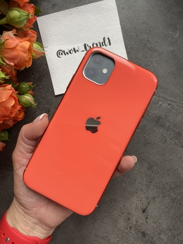 Чехол Iphone 11 Glass Silicone Case Logo /orange/