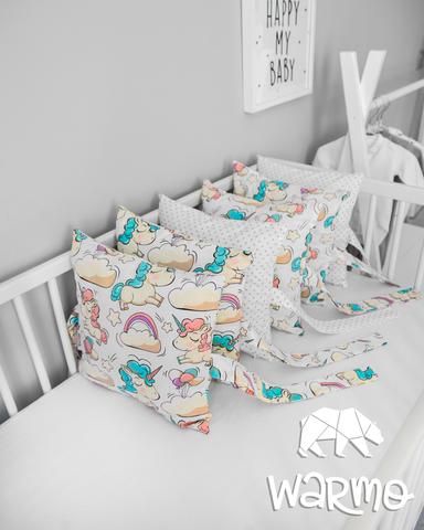 Набір бортиків-подушок в ліжечко 30x30см БІЛІ ЄДИНОРОГИ