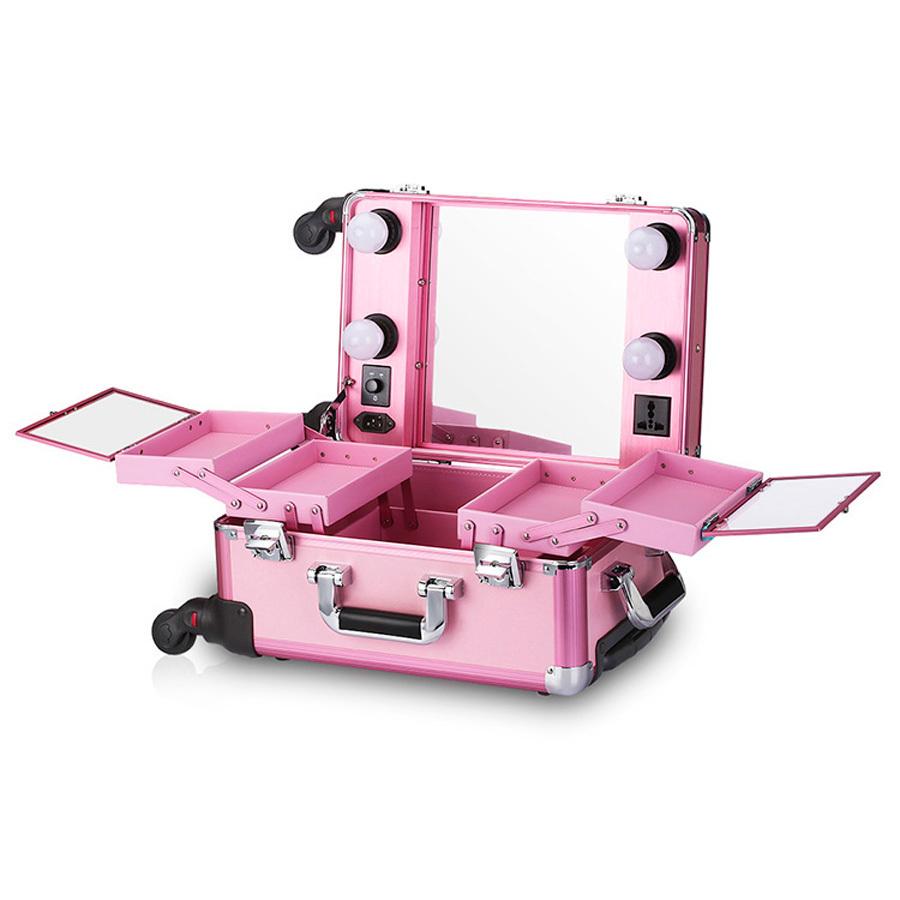 Бьюти кейс визажиста на колесиках (мобильная студия) LC006 Pink фото