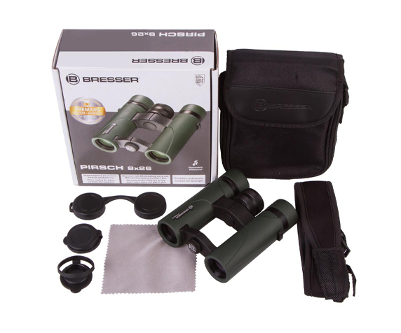 Бинокль Bresser Pirsch 8x26 - комплектация, ремень, сумка-чехол, гарантийный талон