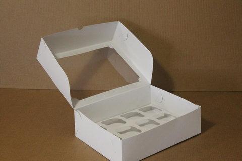 Коробка для 12 маффинов/капкейков 35*25*10см с окном, белая