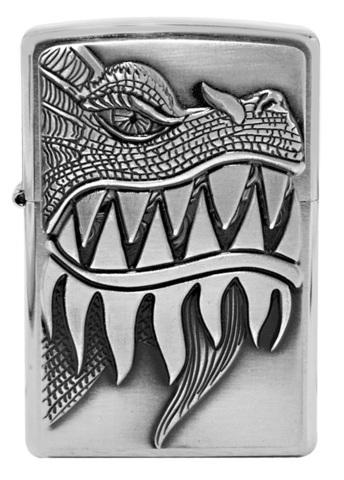 Зажигалка Zippo 200 Fire Breathing Dragon, латунь/сталь серебристая с покрытием Brushed Chrome123