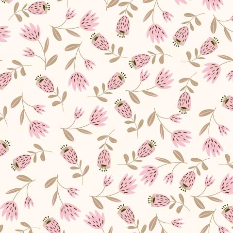 Сканди орнамент нежно-розовые цветы