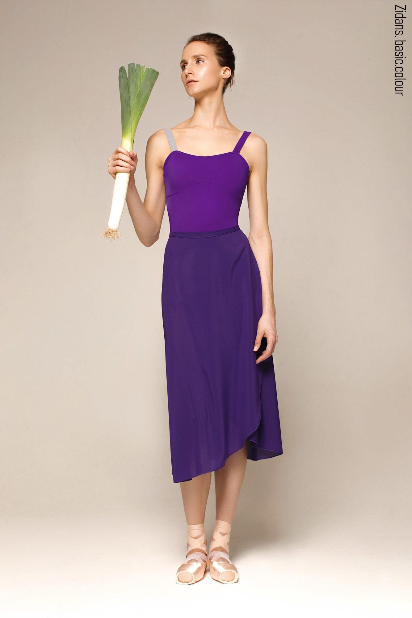 Юбка на запах фиолетовая    4 длины