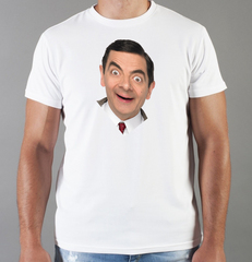 Футболка с принтом Мистер Бин (Mr. Bean, Роуэн Аткинсон) белая 0010
