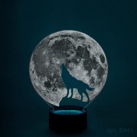 3д светильник (ночник) Волк воет на луну - купить по ...