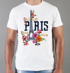 Футболка с принтом Париж, Франция, Эйфелева башня (France/ Paris) белая 001