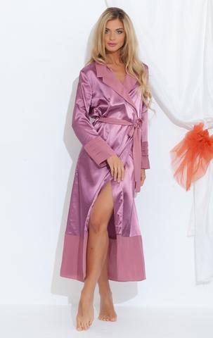 Passion 218 сухая роза шелковый женский халат  с шифоновой вставкой PECHE MONNAIE Россия