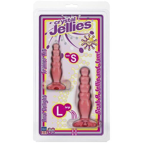 Набор из двух розовых анальных втулок Crystal Jellies Anal Trainer Kit