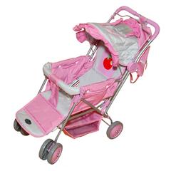 Gulliver Коляска с рюкзачком для куклы (розово-серебристая с яблочком) (606-2)