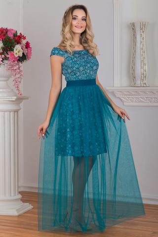 Вид сбоку Платье вечернее Нефритовое