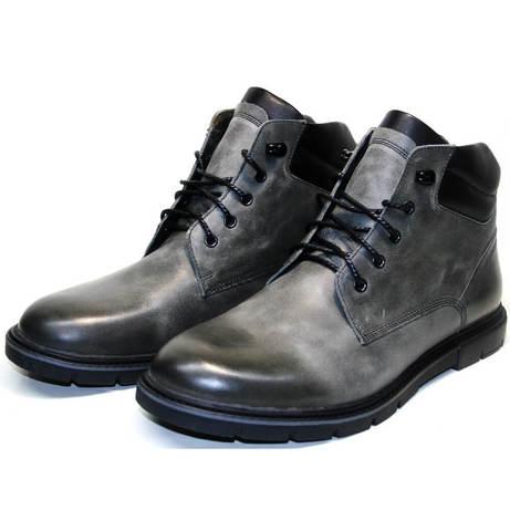 Мужские зимние ботинки на меху серые Ікос 3620-3 S