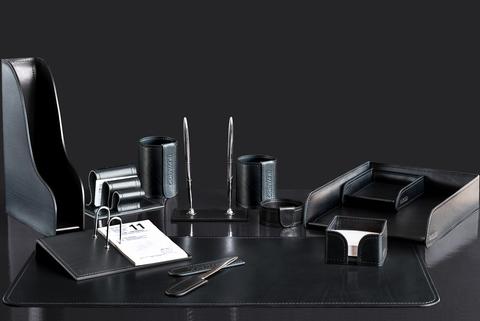 Lux набор на стол 12 предметов из кожи FG Black