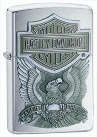 Зажигалка Zippo Harley-Davidson Made In USA Emblem, с покрытием Brushed Chrome, латунь/