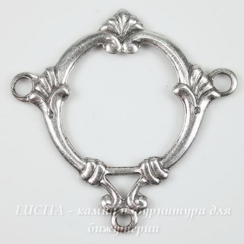 Винтажный декоративный элемент - рамка - коннектор (1-2) 29х29 мм (оксид серебра)