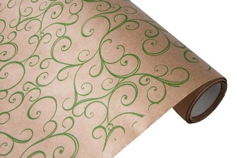 Бумага крафт 45гр/м2, 70см x 10м, Узор, зеленый