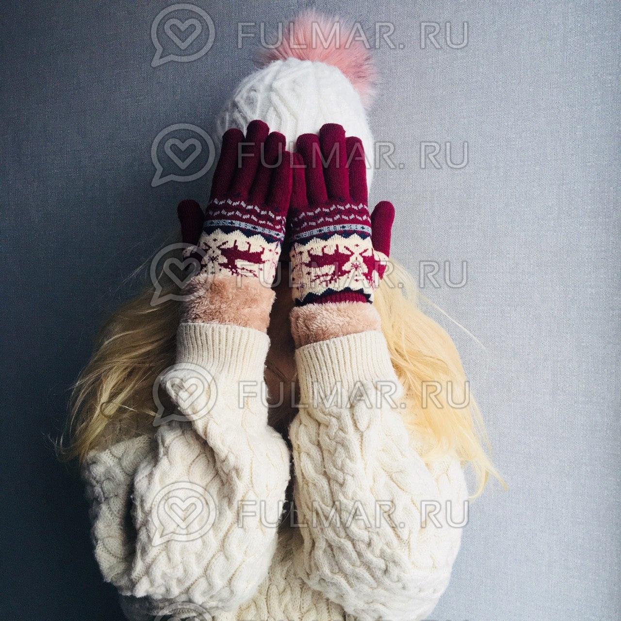 Перчатки с оленями шерстяные женские (Цвет: бордовый) фото