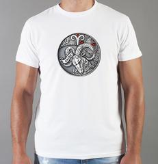 Футболка с принтом Знаки Зодиака, Овен (Гороскоп, horoscope) белая 0046