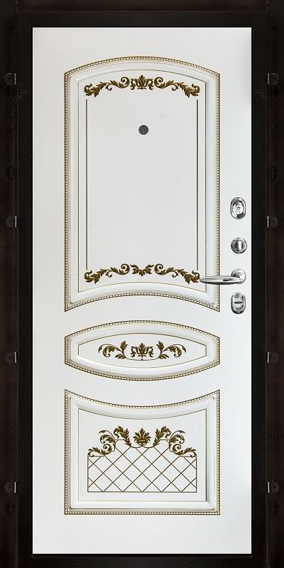 под заказ. Внутренняя. Эмаль белая с золотой патиной. Рисунок Алина 2 m1371