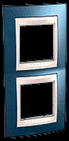 Рамка на 2 поста. Цвет вертикальная Голубой лёд/бежевый. Schneider electric Unica Хамелеон. MGU6.004V.554