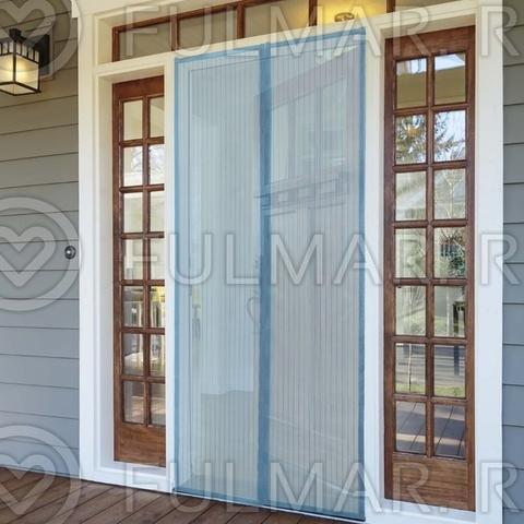 Москитная сетка от комаров на дверь на магнитной ленте 90x210 см Голубая
