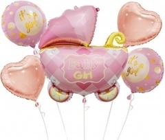 К Набор шаров (35''/89 см) Коляска для девочки, Розовый, 5 шт. в упак.