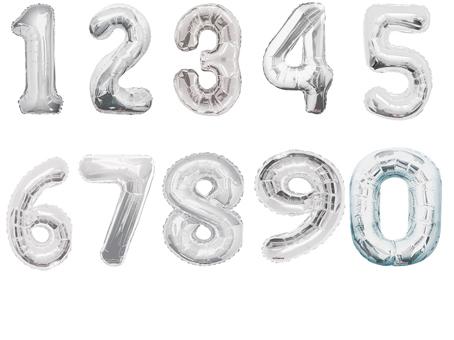 Фольгированный шар Цифра серебряная в ассортименте 34