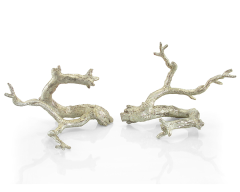 Set of Two Just Twigs in Silver Leaf
