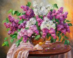 Картина раскраска по номерам 40x50 Букет сирени на столе