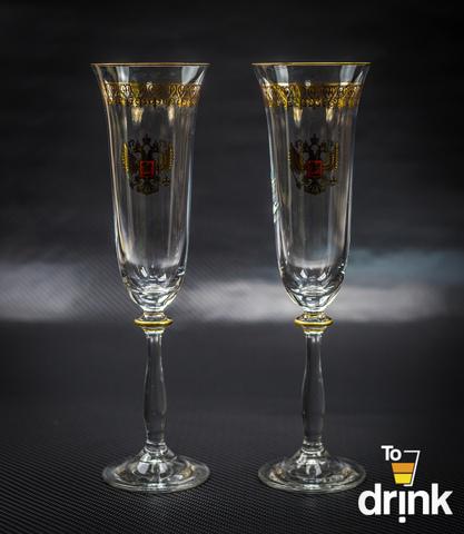 Подарочный набор из 2 хрустальных фужеров для шампанского «Министерский», 190 мл
