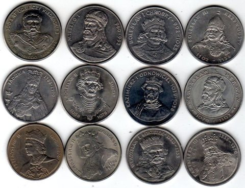 "Набор из 12 монет на тему ""Короли"" 1979-1989 гг. UNC"