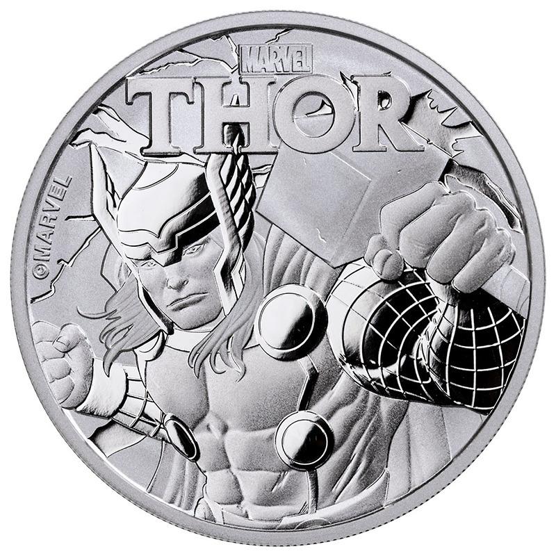 1 доллар. Могучий Тор Супергерой комиксов Marvel. Тувалу. 2018 год