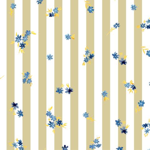 Маленькие синие цветочки на бежевых полосках