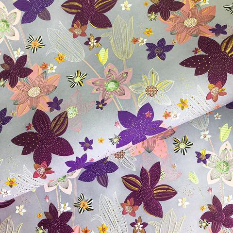 Бумага подарочная Большие цветы