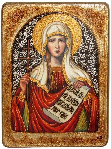 Инкрустированная икона Святая мученица Татиана 29х21см на натуральном дереве в подарочной коробке