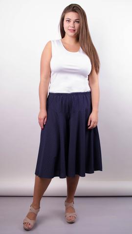 Лолита. Оригинальные шорты-юбка больших размеров. Синий+горох.