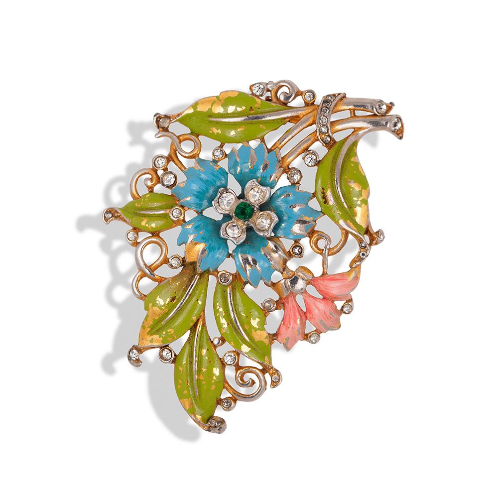"Фур-клип от Trifari ""Цветы"" с эмалью и кристаллами, 1940-е годы  |  1940s Trifari Enamel Rhinestone Flower Figural Fur Clip Brooch"